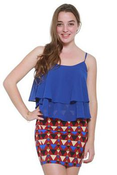 Glamzza Ladies Taylor Top - Blue (Size: S-M)