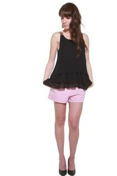 Glamzza Ladies Flow Free Tiered Tank - Black (Size: S-M)