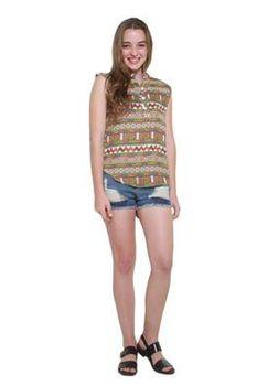 Glamzza Ladies Navajo Sleeveless Shirt Hem Top (Size: S-M)