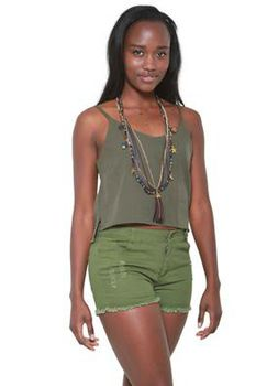 Glamzza Ladies Blaike Cutoff Distressed Shorts - Green (Size: Small)