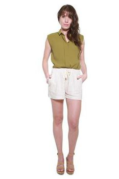 Glamzza Ladies Carrie High - Waisted Drawstring Linen Shorts - Pearl (Size: One Size Fits All)