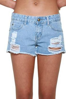 Glamzza Ladies Vintage Frayed & Destroyed Denim Shorts (Size: Small)