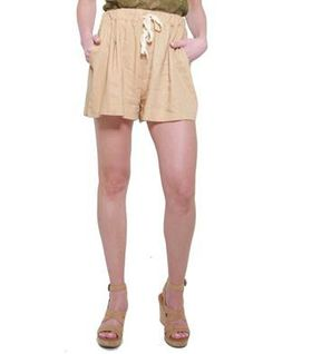 Glamzza Ladies Carrie High - Waisted Drawstring Linen Shorts - Pumpkin (Size: One Size Fits All)