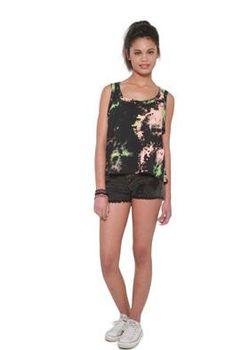Glamzza Ladies Blaike Cutoff Distressed Shorts - Black (Size: Small)