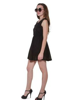 Glamzza Ladies Horizontal Striped Skater Dress - Black (Size: S-M)