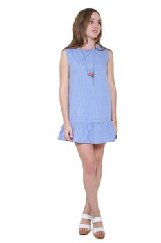 Glamzza Ladies Baby Doll Ruffled Dress - Periwinkle (Size: S-M)