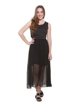 Glamzza Ladies Elegant Tank Dress With Back Slit - Black (Size: S-M)