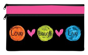 Butterfly Love & Life Double Zip Neoprene iPad Pencil Case