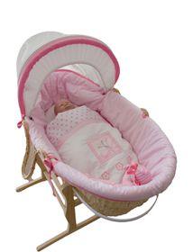 Snuggletime - Moses Basket & Linen Set - Pink