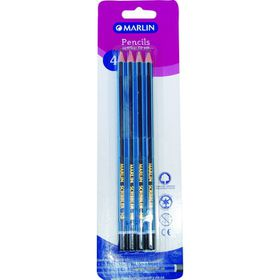 Marlin Scribbler Blue & Navy Striped HB Pencils - Blister of 4