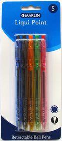 Marlin Liqui Point Retractable Ballpoint Pens - Blue Ink (Blister of 5)