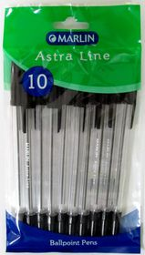 Marlin Astra-Line Medium Nib Ballpoint Pens - Black (Pack of 10)