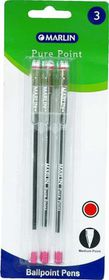 Marlin Pure Point Medium Transparent Ballpoint Pens - Red Ink (Blister of 3)