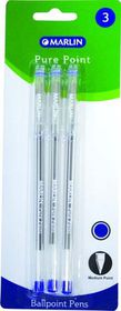 Marlin Pure Point Medium Transparent Ballpoint Pens - Blue Ink (Blister of 3)