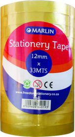 Marlin Stationery Clear Tape - 12mm x 33m (Pack of 12)