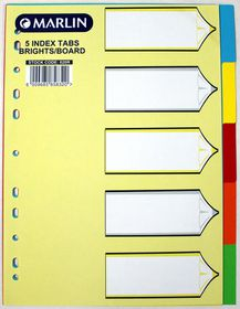 Marlin File 5 Unprinted Index Dividers 160gsm Bright Board