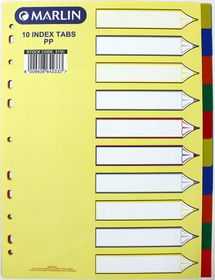 Marlin File 10 Unprinted Index Dividers Polyprop Bright Colours