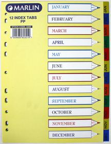 Marlin File 12 (Jan - Dec) Index Dividers Polyprop Bright Colours