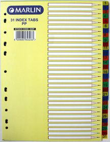 Marlin File 31 (1 - 31) Index Dividers Polyprop Bright Colours