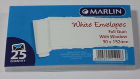 Marlin White Full Gum Window Envelopes - 25
