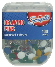 Scripto Drawing Pins 100s - Assorted Colours