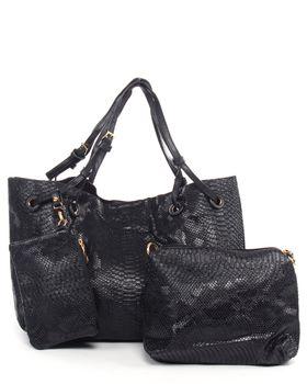 Brad's Soweto Snakeskin Bag - Black