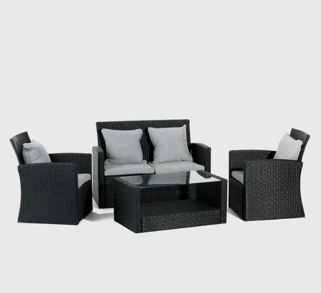 Cielo   Benedict Patio Lounge Set   Black ...