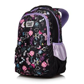 Meeco Large Backpack - Black with Print