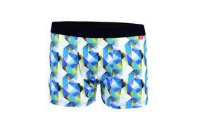 Undeez Online Blue and Green Geo Body Fit Boxer