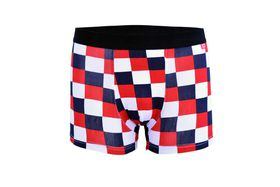 Undeez Online Red, White And Navy Squares Body Fit Boxer
