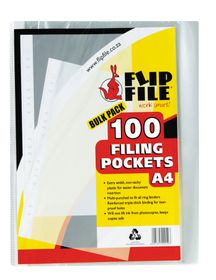 Flip File A4 Filing Pockets - 100 Pack