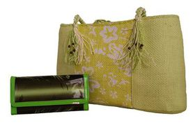Straw Beach /Shopping Bag With Patent Leaf Printed Purse Value Pack FJ4572+608-765 - Green