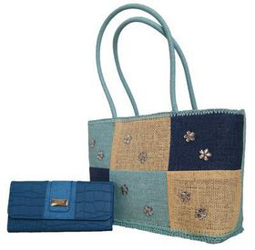 Straw Beach /Shopping Bag With Pu Leather Purse Set JSZ0823+975-765 - Blue