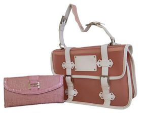 Fino Jelly Fashion Bag& Jaquard & Croc Trim Purse Value Set SK1022/JLK+F310 - Pink