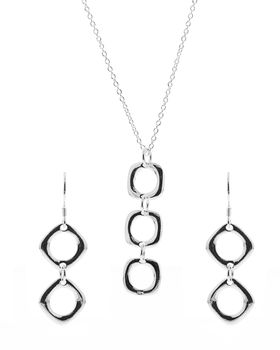 Unexpected Box Silver Tripple-O Earring & Necklace Set