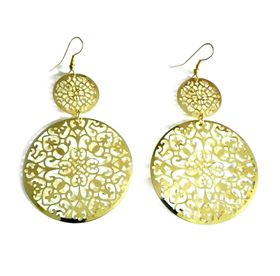 Urban Charm Boldly Glam Intricate Lace earrings - Gold