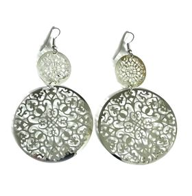 Urban Charm Boldly Glam Intricate Lace Earrings - White Gold
