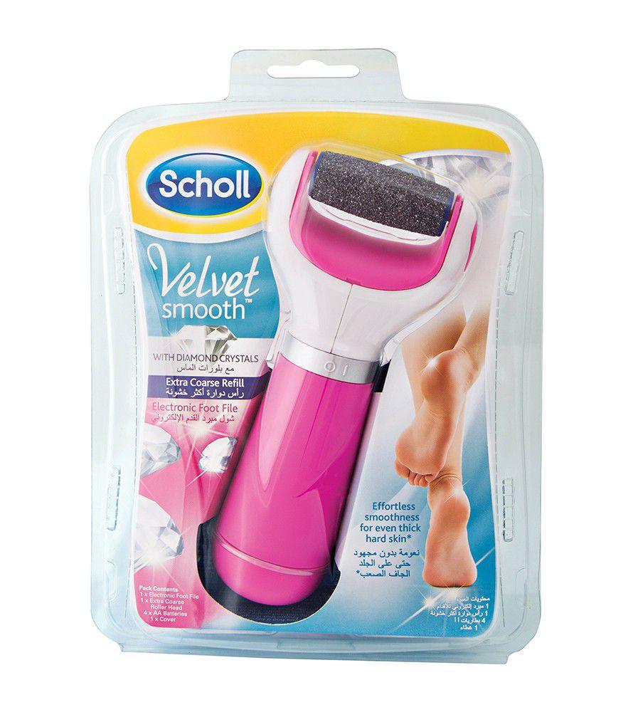scholl velvet smooth electronic foot file pink with. Black Bedroom Furniture Sets. Home Design Ideas