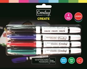 Croxley Create Fine Nib Whiteboard Markers - Blister of 4
