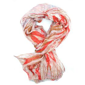 Lily & Rose Brown Red, Pink & White Linear Patterned Scarf