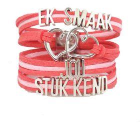 """Crystal Rock Afrikaans Magnetic Bracelet """"Ek smaak jou stukkend"""" in Pink"""