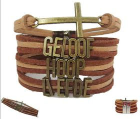 """Crystal Rock Afrikaans Magnetic Bracelet """"Geloof, Hoop, Liefde"""" in Brown"""