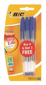 BIC Crystal Medium Xtra Life Ballpoint Pens - Blue (Blister of 4+3)