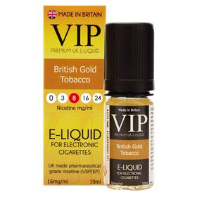 VIP E-Cigarettes 10ml British Gold Tobacco - 8mg