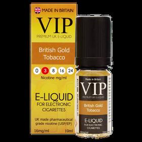 VIP E-Cigarettes 10ml British Gold Tobacco - 3mg