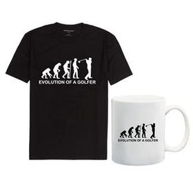 Qtees Africa Evolution Of A Golfer Men's Black T-Shirt & Mug Combo
