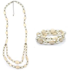 Lily & Rose Necklace & Bracelet Pack with Pearl & Silver Bead Detail - TLSET021