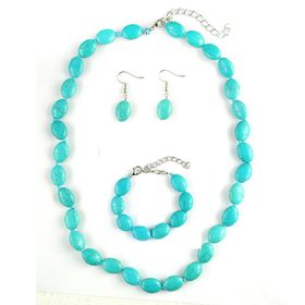Lily & Rose Necklace, Bracelet & Earring Pack with Light Turquoise Oval Bead Detail - TLSET026