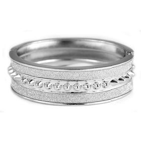 Lily & Rose Silver Plated Bangle with Silver Glitter Detail & Central Geometric Square - TLBR003