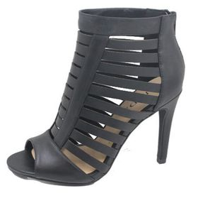 Strappy Caged Peep Toe Heels - Black